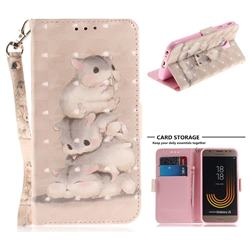Three Squirrels 3D Painted Leather Wallet Phone Case for Samsung Galaxy J3 2017 J330 Eurasian