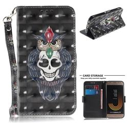 Skull Cat 3D Painted Leather Wallet Phone Case for Samsung Galaxy J3 2017 J330 Eurasian