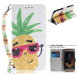Pineapple Glasses 3D Painted Leather Wallet Phone Case for Samsung Galaxy J3 2017 J330 Eurasian