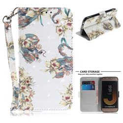 Dragon Flower 3D Painted Leather Wallet Phone Case for Samsung Galaxy J3 2017 J330 Eurasian