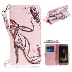 Butterfly High Heels 3D Painted Leather Wallet Phone Case for Samsung Galaxy J3 2017 J330 Eurasian