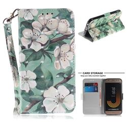 Watercolor Flower 3D Painted Leather Wallet Phone Case for Samsung Galaxy J3 2017 J330 Eurasian