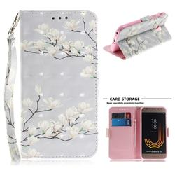 Magnolia Flower 3D Painted Leather Wallet Phone Case for Samsung Galaxy J3 2017 J330 Eurasian