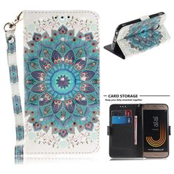 Peacock Mandala 3D Painted Leather Wallet Phone Case for Samsung Galaxy J3 2017 J330 Eurasian