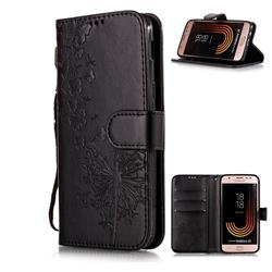 Intricate Embossing Dandelion Butterfly Leather Wallet Case for Samsung Galaxy J3 2017 J330 Eurasian - Black