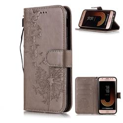 Intricate Embossing Dandelion Butterfly Leather Wallet Case for Samsung Galaxy J3 2017 J330 Eurasian - Gray