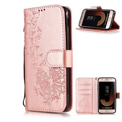 Intricate Embossing Dandelion Butterfly Leather Wallet Case for Samsung Galaxy J3 2017 J330 Eurasian - Rose Gold