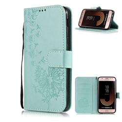 Intricate Embossing Dandelion Butterfly Leather Wallet Case for Samsung Galaxy J3 2017 J330 Eurasian - Green