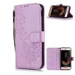 Intricate Embossing Dandelion Butterfly Leather Wallet Case for Samsung Galaxy J3 2017 J330 Eurasian - Purple