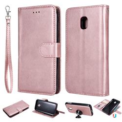 Retro Greek Detachable Magnetic PU Leather Wallet Phone Case for Samsung Galaxy J3 2017 J330 Eurasian - Rose Gold