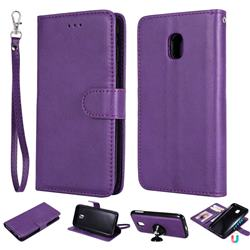 Retro Greek Detachable Magnetic PU Leather Wallet Phone Case for Samsung Galaxy J3 2017 J330 Eurasian - Purple