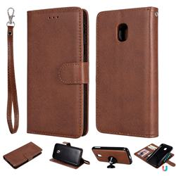 Retro Greek Detachable Magnetic PU Leather Wallet Phone Case for Samsung Galaxy J3 2017 J330 Eurasian - Brown