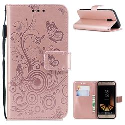 Intricate Embossing Butterfly Circle Leather Wallet Case for Samsung Galaxy J3 2017 J330 Eurasian - Rose Gold