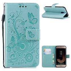 Intricate Embossing Butterfly Circle Leather Wallet Case for Samsung Galaxy J3 2017 J330 Eurasian - Cyan