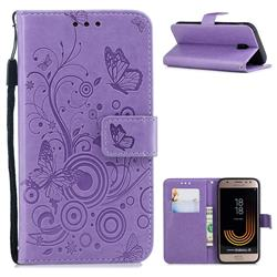 Intricate Embossing Butterfly Circle Leather Wallet Case for Samsung Galaxy J3 2017 J330 Eurasian - Purple