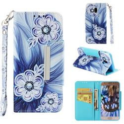 Button Flower Big Metal Buckle PU Leather Wallet Phone Case for Samsung Galaxy J3 2017 J330 Eurasian