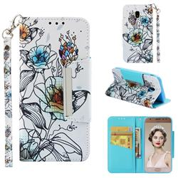 Fotus Flower Big Metal Buckle PU Leather Wallet Phone Case for Samsung Galaxy J3 2017 J330 Eurasian