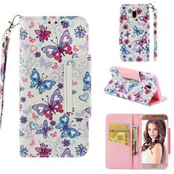 Colored Butterfly Big Metal Buckle PU Leather Wallet Phone Case for Samsung Galaxy J3 2017 J330 Eurasian