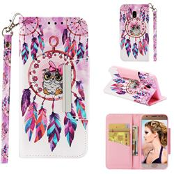 Owl Wind Chimes Big Metal Buckle PU Leather Wallet Phone Case for Samsung Galaxy J3 2017 J330 Eurasian