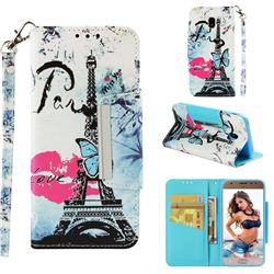 Lip Tower Big Metal Buckle PU Leather Wallet Phone Case for Samsung Galaxy J3 2017 J330 Eurasian