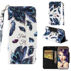 Peacock Feather Big Metal Buckle PU Leather Wallet Phone Case for Samsung Galaxy J3 2017 J330 Eurasian