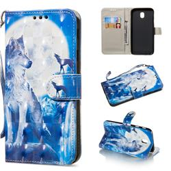 Ice Wolf 3D Painted Leather Wallet Phone Case for Samsung Galaxy J3 2017 J330 Eurasian