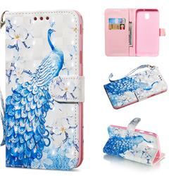 Blue Peacock 3D Painted Leather Wallet Phone Case for Samsung Galaxy J3 2017 J330 Eurasian
