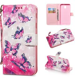 Pink Butterfly 3D Painted Leather Wallet Phone Case for Samsung Galaxy J3 2017 J330 Eurasian
