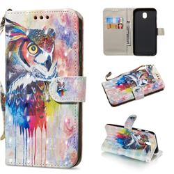 Watercolor Owl 3D Painted Leather Wallet Phone Case for Samsung Galaxy J3 2017 J330 Eurasian