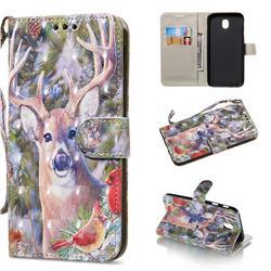 Elk Deer 3D Painted Leather Wallet Phone Case for Samsung Galaxy J3 2017 J330 Eurasian