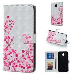 Cherry Blossom 3D Painted Leather Phone Wallet Case for Samsung Galaxy J3 2017 J330 Eurasian
