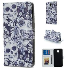 Skull Flower 3D Painted Leather Phone Wallet Case for Samsung Galaxy J3 2017 J330 Eurasian