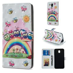 Rainbow Owl Family 3D Painted Leather Phone Wallet Case for Samsung Galaxy J3 2017 J330 Eurasian