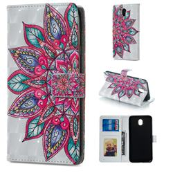 Mandara Flower 3D Painted Leather Phone Wallet Case for Samsung Galaxy J3 2017 J330 Eurasian