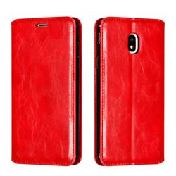Retro Slim Magnetic Crazy Horse PU Leather Wallet Case for Samsung Galaxy J3 2017 J330 Eurasian - Red