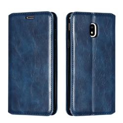 Retro Slim Magnetic Crazy Horse PU Leather Wallet Case for Samsung Galaxy J3 2017 J330 Eurasian - Blue