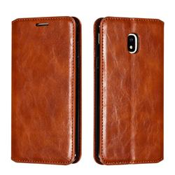Retro Slim Magnetic Crazy Horse PU Leather Wallet Case for Samsung Galaxy J3 2017 J330 Eurasian - Brown