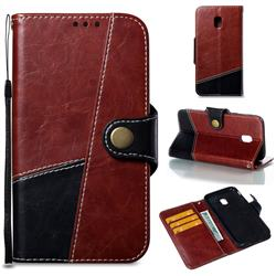 Retro Magnetic Stitching Wallet Flip Cover for Samsung Galaxy J3 2017 J330 Eurasian - Dark Red