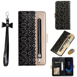 Luxury Lace Zipper Stitching Leather Phone Wallet Case for Samsung Galaxy J3 2017 J330 Eurasian - Black