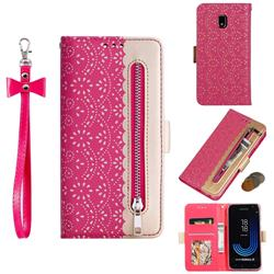 Luxury Lace Zipper Stitching Leather Phone Wallet Case for Samsung Galaxy J3 2017 J330 Eurasian - Rose