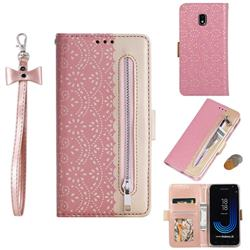Luxury Lace Zipper Stitching Leather Phone Wallet Case for Samsung Galaxy J3 2017 J330 Eurasian - Pink