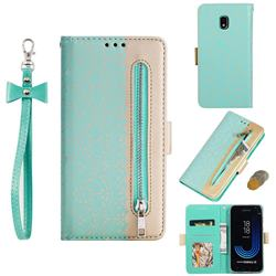 Luxury Lace Zipper Stitching Leather Phone Wallet Case for Samsung Galaxy J3 2017 J330 Eurasian - Green