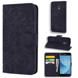 Retro Embossing Mandala Flower Leather Wallet Case for Samsung Galaxy J3 2017 J330 Eurasian - Black