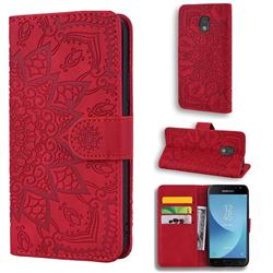 Retro Embossing Mandala Flower Leather Wallet Case for Samsung Galaxy J3 2017 J330 Eurasian - Red