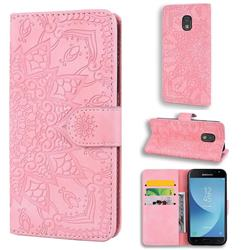 Retro Embossing Mandala Flower Leather Wallet Case for Samsung Galaxy J3 2017 J330 Eurasian - Pink