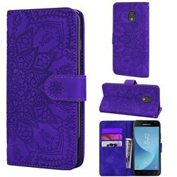 Retro Embossing Mandala Flower Leather Wallet Case for Samsung Galaxy J3 2017 J330 Eurasian - Purple