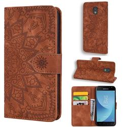 Retro Embossing Mandala Flower Leather Wallet Case for Samsung Galaxy J3 2017 J330 Eurasian - Brown