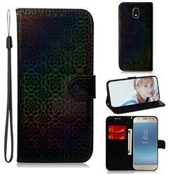 Laser Circle Shining Leather Wallet Phone Case for Samsung Galaxy J3 2017 J330 Eurasian - Black