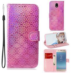 Laser Circle Shining Leather Wallet Phone Case for Samsung Galaxy J3 2017 J330 Eurasian - Pink
