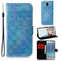 Laser Circle Shining Leather Wallet Phone Case for Samsung Galaxy J3 2017 J330 Eurasian - Blue